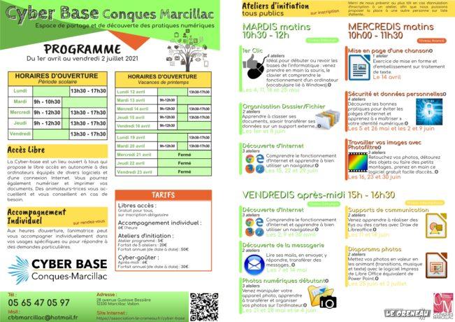 Programme de la Cyber base Conques-Marcillac pour le printemps 2021