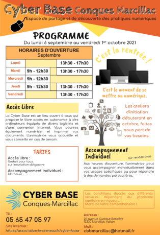 Programme de la Cyber Base pour septembre 2021