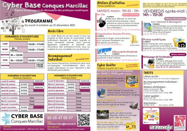 Programme de l'automne 2021 à la Cyber Base Conques-Marcillac